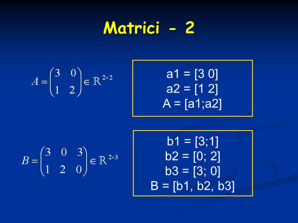 Matrici - 2 a1 = [3 0] a2 = [1 2] A = [a1;a2] b1 = [3;1] b2 = [0; 2]
